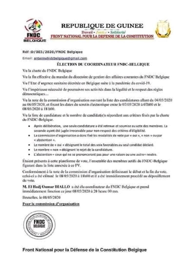 Communiqué du camp de Elhadj Oumar Diallo