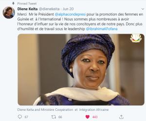 Tweet officiel de remerciement de la Ministre Diene Keita