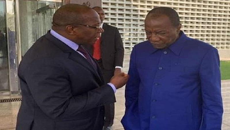Le Président Alpha Condé et le premier ministre Kassory Fofana, au sortir d'une réunion consacrée à l'ANIES