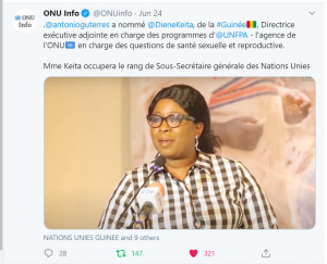 Tweet annonçant la nomination de Diene Keita, 24 juin 2020