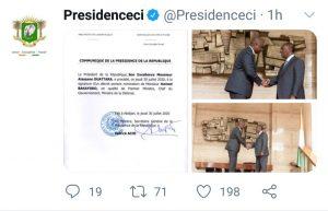 Tweet compte officiel Présidence ivoirienne