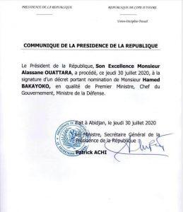 Communiqué Présidence de la Cote d'Ivoire