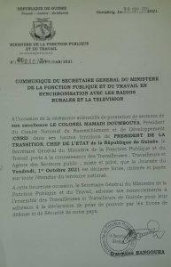 Communiqué Ministère de la Fonction Publique et du Travail